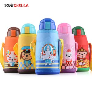 Wholesale Baby Thermos Feeding With Thermal Cup Set Cute Cartoon Stainless Steel Infant Children Training Cups Cl5378 J190528