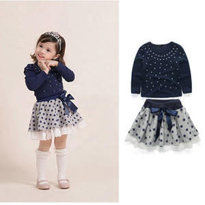 Wholesale Baby Girls Princess Skirt Toddler Girls Pearl Long Sleeve Dot Tops Shirt Suit Infant Baby Leisure Lace Bow Tie Pleated Polka Dot Skirt Set