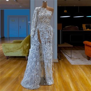 Wholesale Arabic One Shoulder Split Formal Evening Dresses 2020 Long Sleeve Full Lace Appliqued Feather Prom Party Dress Gown Robe De Soire