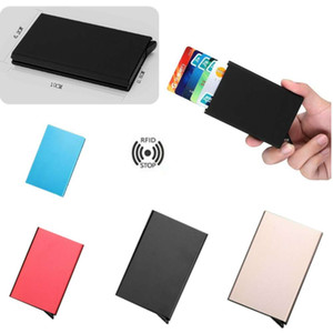 Wholesale RFID Blocking Metal Wallet Men Ladies Auto Credit Cards Holder Pop Up Money Carte Clip Box Antimagnetic Thin Bank Card Package Purse