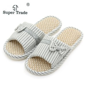 Wholesale Women Men Indoor Floor Casual Flat Shoes New Spring Summer Couples Comfortable Flax Home Slippers Lady Female Soft Cotton Shoes