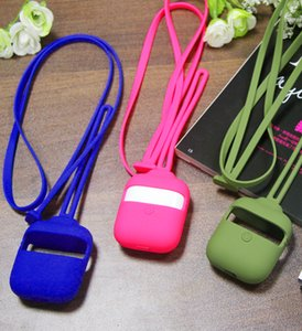 Wholesale Anti Lost Rope AirPods Case For Apple AirPods Shockproof With Neck Lanyard Bluetooth Soft Silicone Earphone Protective Cover