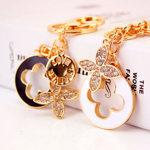 Fashion Crystal Clover Keychain Women Gold Color Car Key Holder Metal Key Chain Cute Charm Key Ring Jewelry Gift