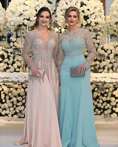 Wholesale sequin fuchsia dress prom resale online - Luxurious Bead Crystal Sequins Mother of the Bride Dresses Long Sleeves V Neck Pink Plus Size Formal Party Prom Gowns