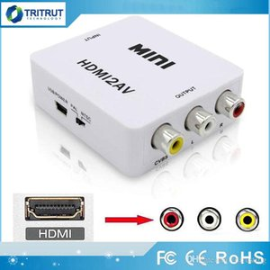 HDMI2AV 1080P HD Video Adapter mini HDMI to AV Converter CVBS+L R HDMI to RCA For Xbox 360 PS3 PC360 With retail packaging MQ20