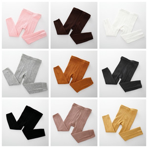 Wholesale natural colored cotton resale online - 9 Colors Kids Knit Leggings Baby Solid Footless Rib Tights Elastic Soft Cotton Pants Korea Child Vertical Bar Pant GGA2366