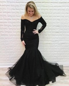 2020 New Luxury Black Arabic Mermaid Prom Dresses Off Shoulder Lace Appliques Long Sleeve Plus Size Backless Sweep Train Party Evening Gowns on Sale