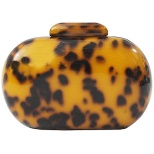 Fashion Wallet Women'S Acrylic Cute Round Leopard Print Evening Bag Ladies Wedding Party Ball Portable Clutch Bag