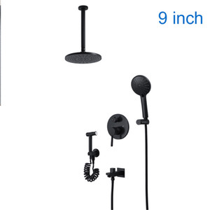 Wholesale bidet hot cold for sale - Group buy Hotel Inch Black Shower Faucet Set Hot And Cold bath Mixinig Valve Rainfall Top Shower Head ABS hand Shower Massage Bidet
