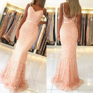 Vestido Spaghetti Straps 3D Lace Applique Evening Dresses 2020 Covered Buttons Mermaid Long Prom Gowns BC2487 on Sale