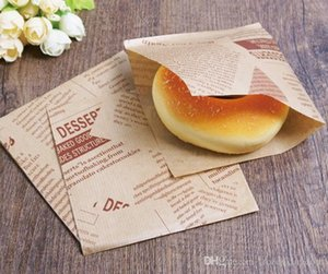 Wholesale 1000pcs x12cm Bakery Packaging Food Oilproof Paper Bag Sandwich Puff Donut Bread Kraft Food Baking Supplies