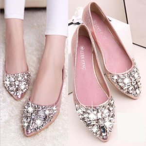 Wholesale Hot sale casual high fashion shoe designer bridal woman shoe fashion woman leather flat crystal low heel wed shoe woman