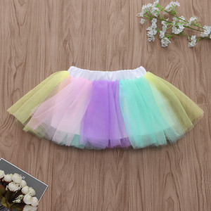 Wholesale Fashion Girls Rainbow Tutu Skirts Summer Kids Boutique Clothing Euro America INS Hot Sale Little Girls Colorful Gauze dance Skirts