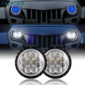"Wholesale 7"" 5D LED headlight daymheadlamp with Blue DRL for 07-17 Jeep Wrangler JK For UAZ 4x4 Jungle Lada 4x4 urban Nivaaker H4"
