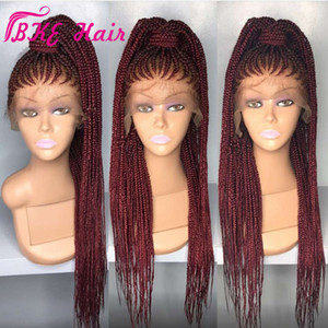 High quality Long box Braid Wig Braiding synthetic lace front wig black burgundy red color cornrow braids lace wigs For Black Women