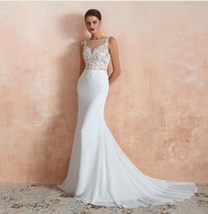2020 Modest Appliques Sequins Chiffon Wedding Dresses Jewel Neck Mermaid Hollow Back Sweep Train Bridal Gown Real Image on Sale