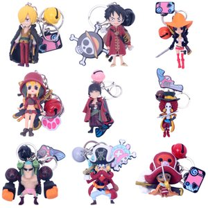Wholesale 9 Set Japan One Piece Luffy Keychain Women Men Figure Toys Gift Choppe Zoro Anime Keyring Bag Pendant car key chain Holder
