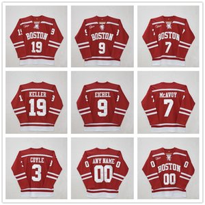 Wholesale Custom Boston University #3 charlie coyle #7 Charlie McAvoy #9 Jack Eichel #19 Clayton Keller #20 Diffley Red Hockey Jersey Stitched patches