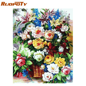 Wholesale RUOPOTY Frame Diy Painting By Numbers Kit Flowers Wall Art Canvas Painting Acrylic Paint By Numbers Kit For Home Decor x75cm