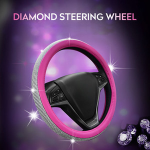 Wholesale Steering Wheel Wrap Steering Wheel Braid Universal Steering Wheel Cover Protection Breathe Freely with Beautiful Rhinestones
