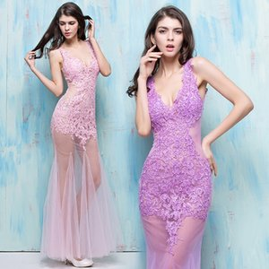 New Nightclub Ladies Summer Sexy Perspective Black Pink Dresses Shoulder Deep V Collar Fish Tail Slim Wrap Hip Prom Dresses