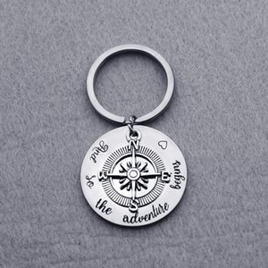 High Quality Titanium Steel luxury keychain with Inspiration Quote Silver Key Chains with Compass Fashion Jewelry