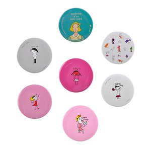 Wholesale Korea Cute Mini Hand Mirror Aluminum Tin Plate Cosmetic Compact Makeup Mirror Cartoon Romantic Childlike Make Up Mirror Wedding Gifts
