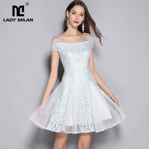 Wholesale Lady Milan Sexy V Neck Short Sleeves Lace Patchwork Fashion Homecoming Runway Dresses