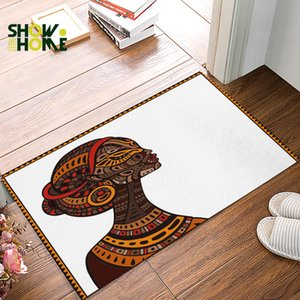 Showhome African Woman Art Background Doormats For Entrance Way Bathroom Accessories Set Dirt Debris Mud Trapper Boot Shoes