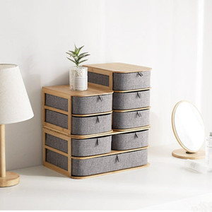 Wholesale Bamboo Oxford Cloth Multilayer Storage Box Makeup Organizer Case Drawers Home Storage Organizer Office Sundries Container Boxes