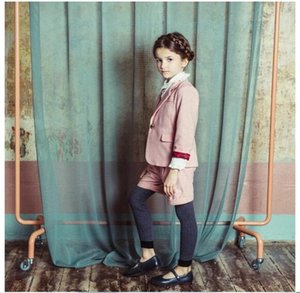 Pink retro girl's suit jacket Girl's Spring European and American Pure Suit Jacket New Kids'Spring Blazers for Girls on Sale