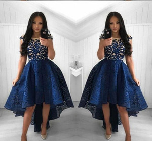 Sexy Navy Blue Cocktail Dresses 2019 Arabic Dubai Style High Low Lace Formal Club Wear Homecoming Prom Party Gowns Plus Size Custom Made
