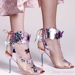 Harmony Mesh Butterfly Bootie Women Sandals High Heels Stiletto Slingback Open Toe Pumps Celebrity Lace Up Ankle Boots