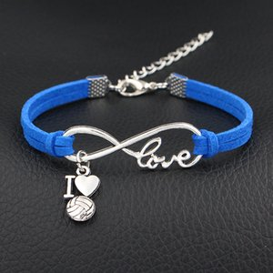 2019 New Fashion Infinity Love I Heart Volleyball Pendant Bracelets & Bangles Women Men Dark Blue Leather Suede Rope Statement Jewelry Gifts