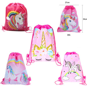 Unicorn Drawstring Bags Kids Backpack Football Dinosaur Cartoon Storage Bags Girls Boys Pouch Gift Bags Swimming Beach Bag Freeshipping