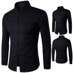 Wholesale Mazefeng Men Clothing Casual Shirts Men traditional Chinese garments Male China Dress Solid Classic Stand collar
