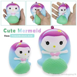 Wholesale Sales products Cute Mermaid Jumbo Squishy Slow Rising Toy Kawaii Doll Squishies Decompression Toys Phone Straps Charm Pendant