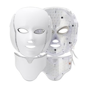 Wholesale faced lifted mask resale online - 7 Colors LED Mask LED Photon Facial Light Mask With Neck Therapy Skin Rejuvenation Face Lifting Anti Acne Wrinkle Skin Machine