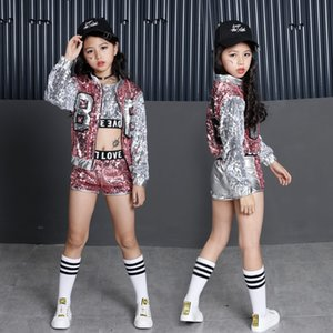 Wholesale Kids Sequin Hip Hop Clothing Clothes for Girls Jacket Crop Tank Tops Shirt Shorts Jazz Dance Costume Ballroom Dancing Streetwear