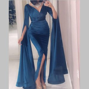 Velvet Sexy Prom Dresses With Deep V-neck Long Sleeves Mermaid Evening Gowns Front Split Pleats Cheap Formal Party Dress VESTIDOS on Sale