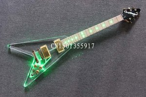Wholesale Chrome plated hardware Acrylic Crystal LED electric guitar F transparent plexiglass electric guitar string flying Guitar green LED