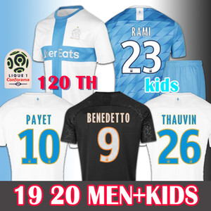 Wholesale MEN KIDS Soccer Jersey Olympique De Marseille Maillot de Foot PAYET BENEDETTO THAUVIN GUSTAVO th OM Football Shirt