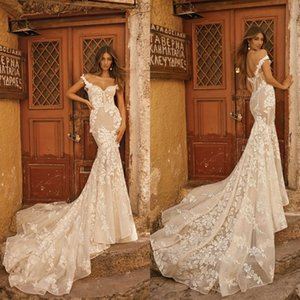 2019 Modern Spring Berta Lace Mermaid Wedding Dresses Backless Off The Shoulder Bridal Gowns Sleeveless Custom Made Wedding Dress on Sale
