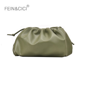 Wholesale Pouch bag day clutch Evening party Cloud Shape purse women ruched small pillow bag leather handbag summer white black green