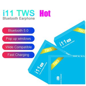 Wholesale Hot I11 TWS Wireless Bluetooth Headphones Earbuds With Pop Up Window Twins Mini Earbuds For Phone Android i11 Touch Blue Box