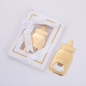 Wholesale Baby Shower Return Gifts for Guest Supplies Poppin Baby Bottle Shaped Bottle Opener with gift box packaging Wedding Favors Party Souvenirs