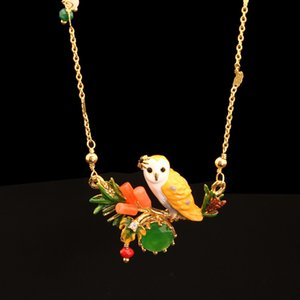 France New Pattern Enamel Snow Owl Crystal Glaze Owl Necklace Plated Really Gold Prevent Allergy Women J