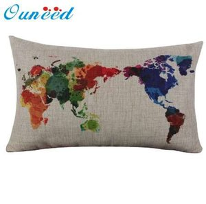 Wholesale Ouneed Linen Cotton World Map Pillowcase Retro Decorative Pillow Case Long Cover cm cm Gift Drop