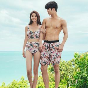 2019 Couple Swimsuit Women Bikini Men Board Shorts Swimming Trunks Boxer Sweat Beach swimwear Surfing Board short Fitness Plus