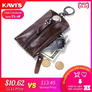 Wholesale KAVIS Genuine Leather Keychain Mini Key Wallet Small Car Pouch Ring Wrap Organizer Case Man Zipper Coin Card Holder Housekeeper